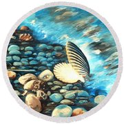 Pebble Beach And Shells Round Beach Towel
