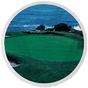Pebble Beach Golf Course 8th Green Round Beach Towel