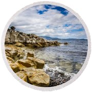 Pebbled Beach Under Dramatic Skies Number Two Round Beach Towel