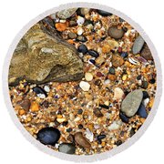 Pebbles And Sand Round Beach Towel