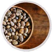 Pebbles In Wood Bowl Round Beach Towel