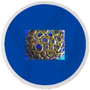 Pebbles Marbled Blue Round Beach Towel