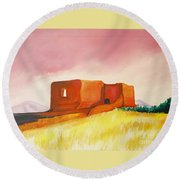 Pecos Mission Nm Round Beach Towel