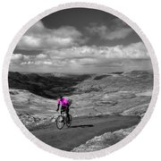 Pedalling The Pass In Pink  Round Beach Towel