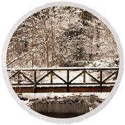 Pedestrian Bridge In The Snow Round Beach Towel