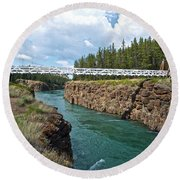 Pedestrian Bridge Over Yukon River In Miles Canyon Near Whitehorse-yk Round Beach Towel