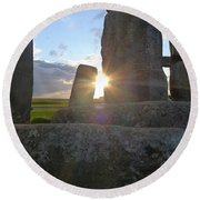 Peek-a-boo Sun At Stonehenge Round Beach Towel