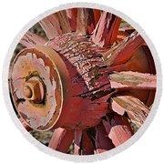Peeling Pink Wagon Wheel Round Beach Towel