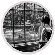 Peering Out The Window Bw Round Beach Towel