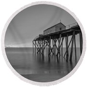 Peering Through The Clouds Bw Round Beach Towel