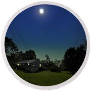 Pegasus And Moon Round Beach Towel by Greg Reed