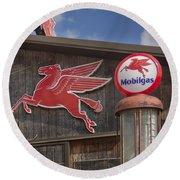 Pegasus And Mobilgas Round Beach Towel