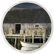 Peggys Cove Fishing Village Round Beach Towel