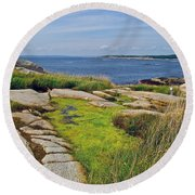 Peggy's Cove From Lighthouse-ns Round Beach Towel