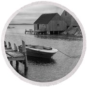Peggys Cove In Black And White Round Beach Towel