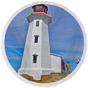 Peggy's Cove Lighthouse Closeup-ns Round Beach Towel