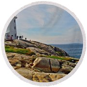 Peggy's Cove Lighthouse On The Rocks-ns Round Beach Towel