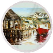 Peggy's Cove Nova Scotia Fishing Village With Red Boat Round Beach Towel