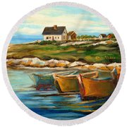 Peggys Cove With Fishing Boats Round Beach Towel