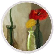 Peggy's Flowers Round Beach Towel
