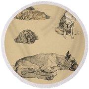 Peke, Collie, Spaniel And German Boxer Round Beach Towel