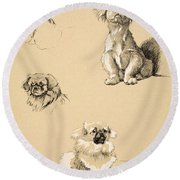 Pekes, 1930, Illustrations Round Beach Towel