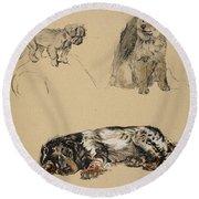 Pekinese, Chow And Spaniel, 1930 Round Beach Towel