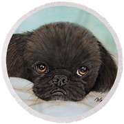 Buddy The Pekingese Round Beach Towel