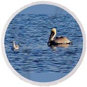Pelican And Gull Round Beach Towel