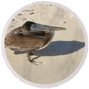 Pelican And His Shadow Round Beach Towel