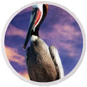 Pelican At Sunset Round Beach Towel