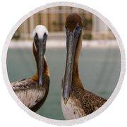 Pelican Couple Round Beach Towel