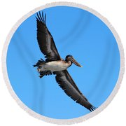 Pelican Flying High Round Beach Towel