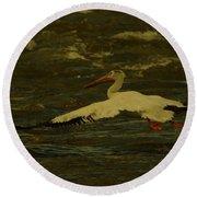 Pelican Flying Low Round Beach Towel