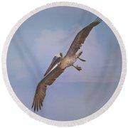 Pelican Grace In Flight Round Beach Towel