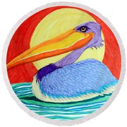 Pelican In The Sun  Round Beach Towel