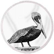 Monterey Pelican Pooping Round Beach Towel