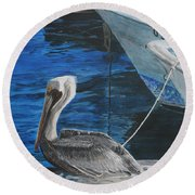 Pelican On A Boat Round Beach Towel