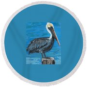 Pelican On Post Round Beach Towel