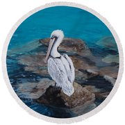 Pelican On The Rocks Round Beach Towel