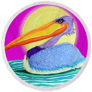 Pelican On The Water 2 Round Beach Towel