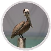 Pelican Perched On A Piling Round Beach Towel