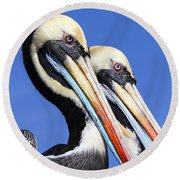 Pelican Perfection Round Beach Towel by James Brunker