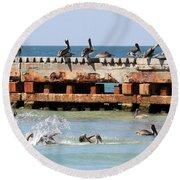 Pelican Pier Round Beach Towel