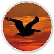 Pelican Profile Round Beach Towel