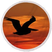 Pelican Profile Round Beach Towel by Al Powell Photography USA