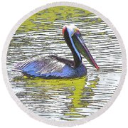 Pelican Reflections Round Beach Towel