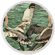 Pelican Take Off Two Round Beach Towel