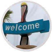 Pelican Welcome Round Beach Towel