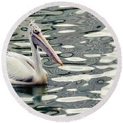 Pelican With Abstract Water Reflections I Round Beach Towel
